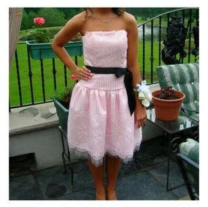 Jessica McClintock Pink Lace Strapless Bouffant